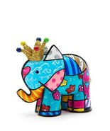 Romero Britto Lucky Elephant Figurine10th Anniversary w Metallic Gold Crown - $39.59