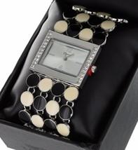 Ladies Geneva Quartz Wristwatch White Gold Finish With Round Enamel Circles Band - $16.65