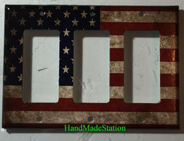 US USA United State Flag Light Switch Power Outlet Wall Cover Plate Home decor image 6
