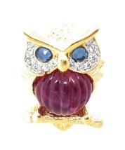 Signed KJL Kenneth Lane WISE OWL BROOCH Pin Faux Ruby Belly Rhinestone 2... - $58.15