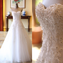 Vintage White Lace Beaded Beach Wedding Dress A Line Women Bridal Gowns 2019 - $120.00