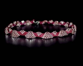 Red beadwoven necklace Beadwork choker Seed bead jewelry Pink beaded necklace Pe - $37.00