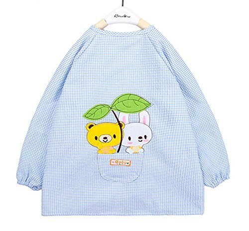 Waterproof Seersucker Kids Painting Smocks Baby Bibs Light BLUE, 0-1 Years