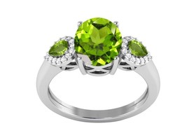 Women Special Silver Jewelry Sterling Peridot Shiny Gemstone Ring Sz 6 S... - $12.61