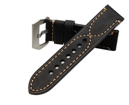 Handmade Black leather Strap Bracelet Panerai Luminor band 24mm crossed ... - $39.99