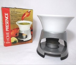TRUDEAU Stoneware Butter Warmer with Tea Light on Metal Stand Sauce Warm... - $9.88