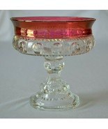 Indiana Glass Kings Crown Ruby Flash Compote - $9.90