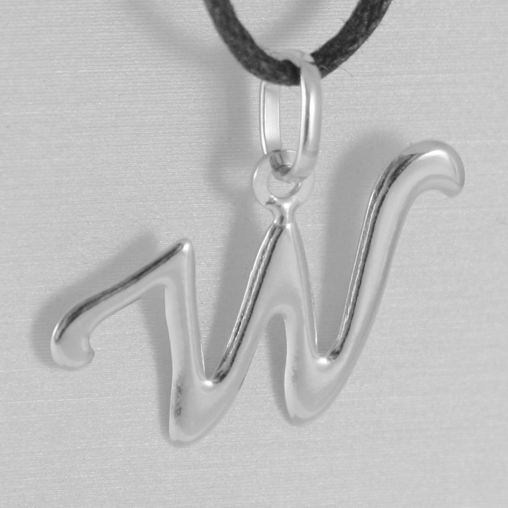 PENDANT WHITE GOLD 18KT WITH INITIAL W LETTER W LUCIDA 2,5 CM WITH CORD