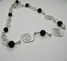 Necklace the Aluminium Long 88 Inch with Onyx Black Round image 3