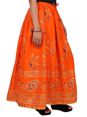 Trendy Printed Indian Women's Hippie Long Bottom Cotton Waisted Maxi Skirt