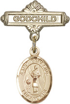 14K Gold Baby Badge with St. Genesius of Rome Charm Pin 1 X 5/8 inch - $468.56