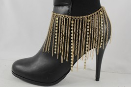 Sexy Women Gold Boot Chain Anklet Bracelet Heel Shoe Long Fringes Charms Jewelry - $17.63