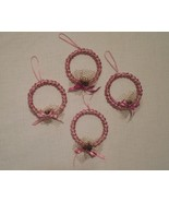 Christmas ornament, set of 4, pink ornaments, Christmas decoration - $20.00