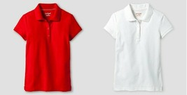 Cat & Jack Girls' Pique Stain Resist Polo Shirt Red or White Size S 6/6X M 7/8 N - $6.49