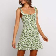 Trendy Vintage Green Floral Ruffle Summer Beach Sundress image 5