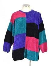 Vtg 90s Oversized Sweater Venezia Retro Color Block Corduroy Knit Tunic ... - $14.84