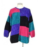 Vtg 90s Oversized Sweater Venezia Retro Color Block Corduroy Knit Tunic ... - $14.84