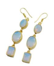 Yellow Gold Plated Glass pulchritudinous Fire Opal CZ Designer Earring UK gift - $22.39