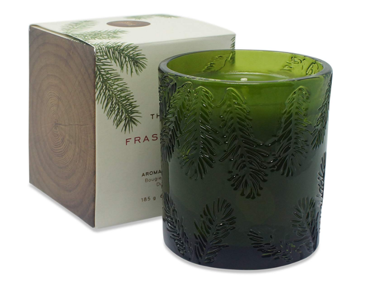 Thymes Frasier Fir Molded Green Glass Scented Poured Candle 6.5oz