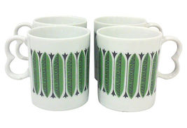 Vintage Mid-Century Green and Black Porcelain Mugs-Set of Four - $23.99