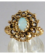 14k Yellow Gold Oval Opal Dream Catcher Design Ring size 5.5 - $715.28