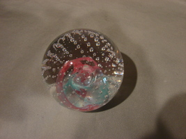 Studio Art Glass 3 Inch Clear w Blue-Red Swirl~ Control Bubbles Paperweight  - $12.90