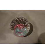 Studio Art Glass 3 Inch Clear w Blue-Red Swirl~ Control Bubbles Paperwei... - $12.90