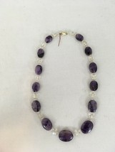 "Amethyst Light Purple 13 Stone Glass Bead 16"" Necklace - $9.90"