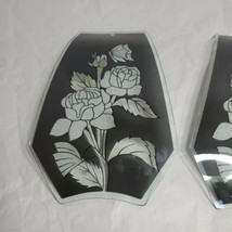 Replacement Glass Lamp Shades Black Silver Rose Butterfly - $68.99