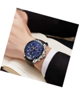 Men Sport Military Waterproof Analog Quartz Watch Chronograph Leather Strap - $26.99