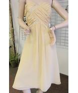 New Sz 12 Chiffon Buttercup Gold Cocktail Short Dress Gown Maids MOB Pro... - $16.19