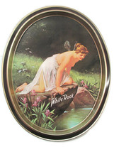 1979 White Rock Tray Psyche at Nature's Mirror Oval Tin Tray - $17.33