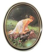 1979 White Rock Tray Psyche at Nature's Mirror Oval Tin Tray - $17.33