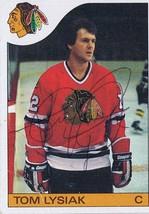 Tom Lysiak 1985 Topps Autograph #23 Blackhawks - $14.89
