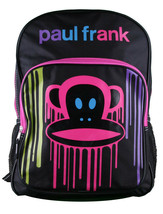 Paul Frank Big KRNK Face Backpack Black Paint Drip Multi Color Drip Pink
