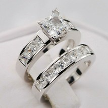 3CT Princess cut Diamond Engagement Ring Bridal Band Set 14k White Gold ... - $297.48