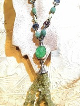 Vintage Handmade Genuine Green Aventurine and Crystal Druzy Stone Necklace - $143.55