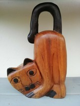 Naive Wooden Carving of Cat - Ornament/Door Stop - Great Condition - $18.14