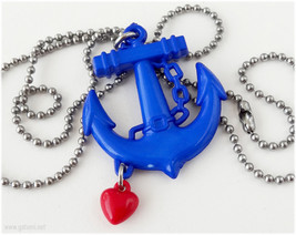 Blue Anchor Pendant, Red Heart Charm, Stainless Steel Ball Chain - Nauti... - $7.00