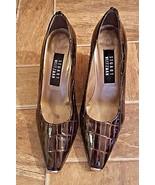 Stuart Weitzman Women Size 6.5 Brown Croc Embossed Gold Pointy Toe Pumps... - $34.64