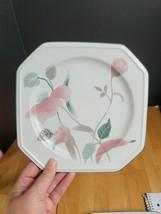 Mikasa Continental Silk Flowers Salad Plate Pink Flowers Teal Leaves - $7.92