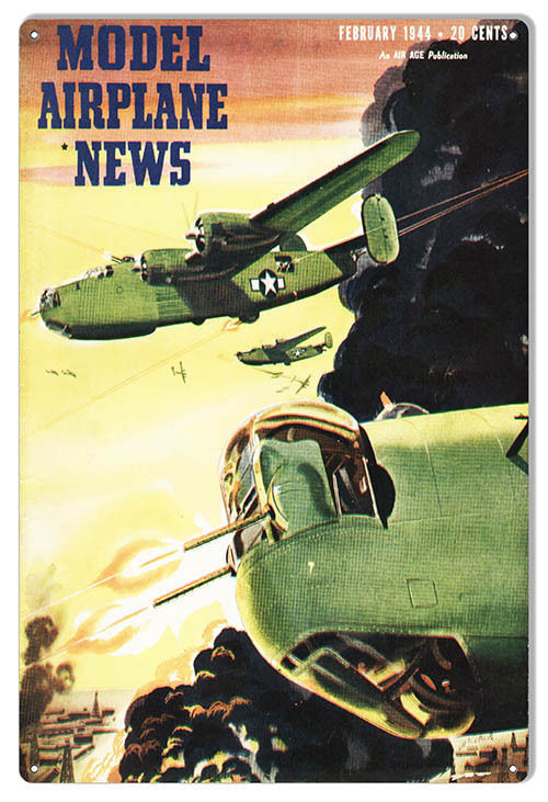 Aviation Model Airplane News February 1944 Magazine Cover 12×18 - $25.74