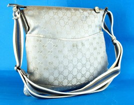 Auth GUCCI GG Silver Nylon Canvas & Leather Shoulder Bag Purse Italy 145... - $147.51