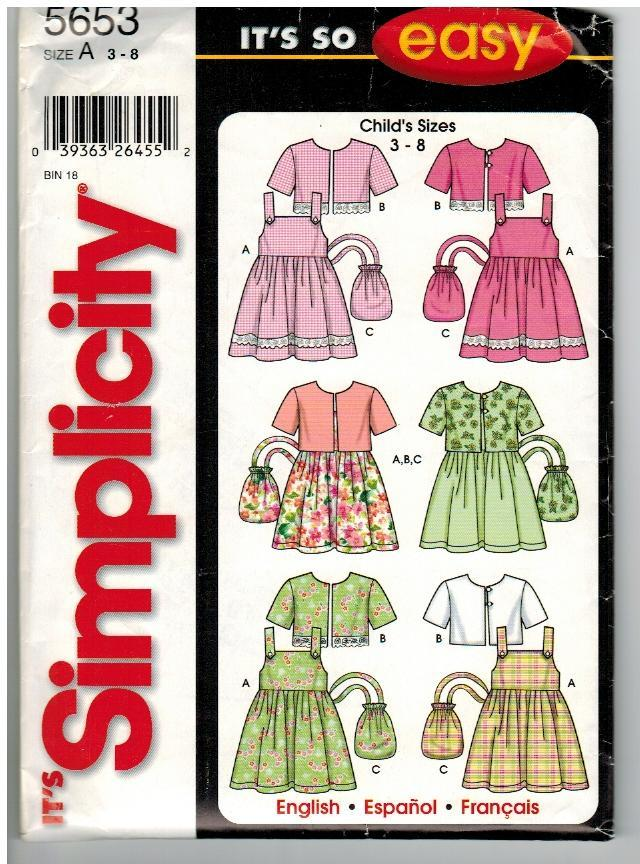 Simplicity It's So Easy Uncut Sewing Pattern #5653 Child's Sundress Jacket Purse