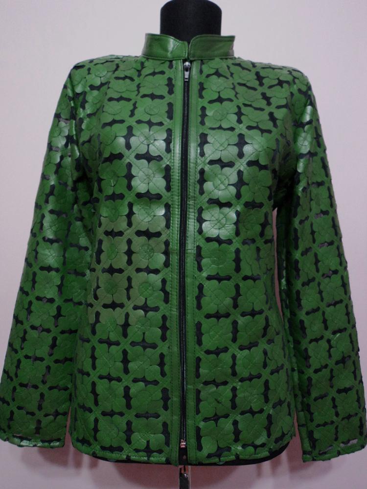 Green leather leaf jacket women design 06 genuine short zip up light lightweight xl 1