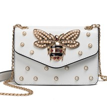 Women Rhinestones Bee Messenger Shoulder Bag Small Crossbody Chain For G... - $26.99