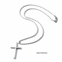 14K Gold Rope Chain Style Cross Pendant Necklace Solid Clasp for Men,Wom... - $135.93