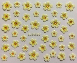 Nail Art 3D Decal Stickers White & Gold Flowers BLE659D - $3.19
