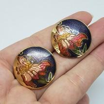 Cloisonne Enamel Purple Green Gold Flower Stud Earrings Vintage Jewelry  - $7.97