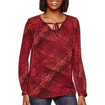 a.n.a Long-Sleeve Tie-Front Peasant Blouse Size L New Msrp $40.00 - $14.99
